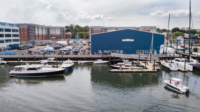 A $1.3 million yacht was hit by a barge while getting repairs at the Hinckley boatyard.