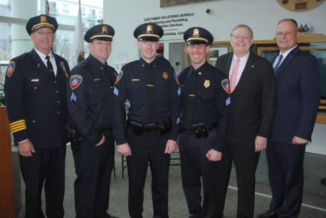 Brian Butler, Brendan Phillips and Sean Boeger were promoted to sergeant in the Stamford Police Department.