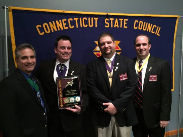 Past Grand Knight Mike Colaluca,Grand Knight George Ribellino, Deputy Grand Knight Scott Criscuolo and Financial Secretary Anthony Armentano.