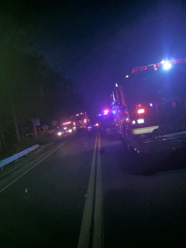 Stepney firefighters on the scene of a car crash in Monroe near the Trumbull town line