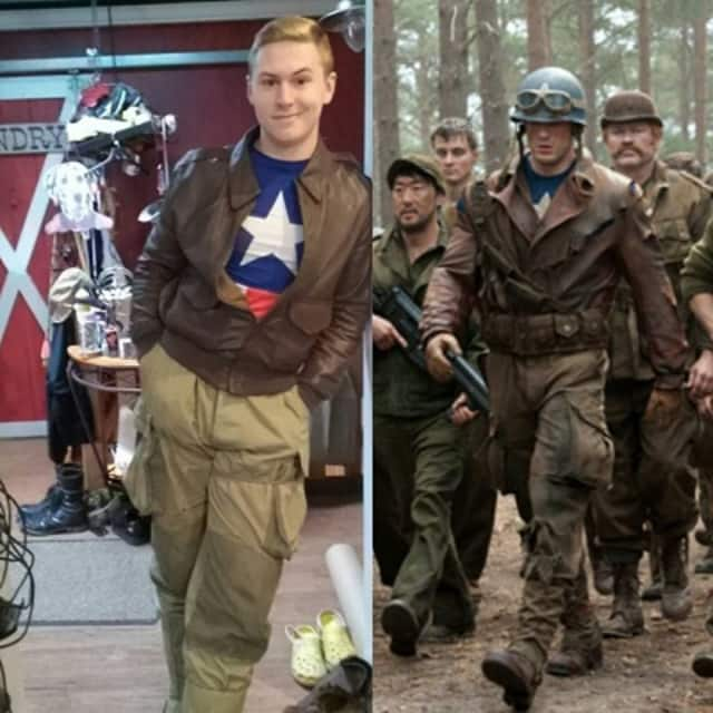 Rondout Valley High School student Steven Snyder, seen in a Facebook post by his sister wears a costume based on a movie character (based on the comic book hero Captain America). A scene from the movie is at right.