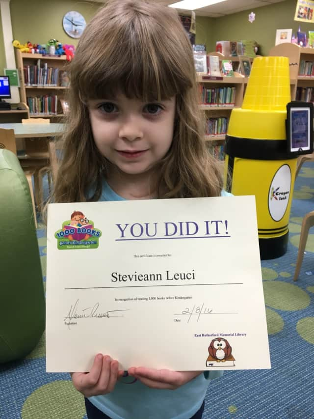 Stevieann Leuci, 4, of East Rutherford has read more than 1,000 books.