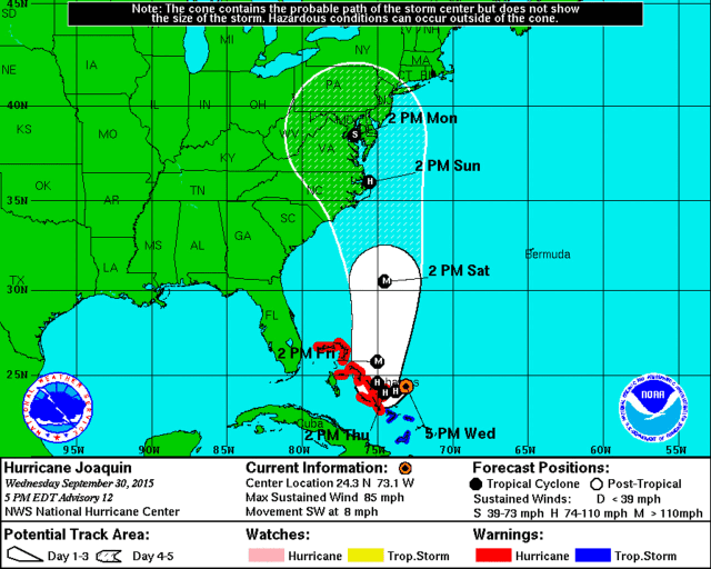 This is the expected path of Hurricane Joaquin.