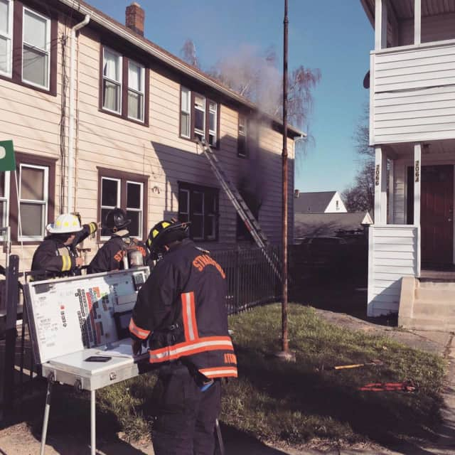 Stratford firefighters were able to douse a fire on Barnum Avenue early April 5 shortly after arriving.