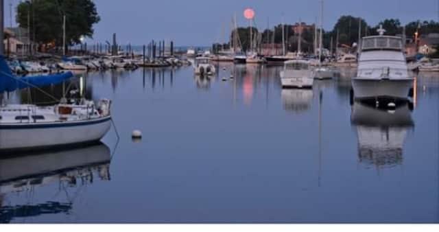 A rare strawberry moon rises over Harbor Island in Mamaroneck.