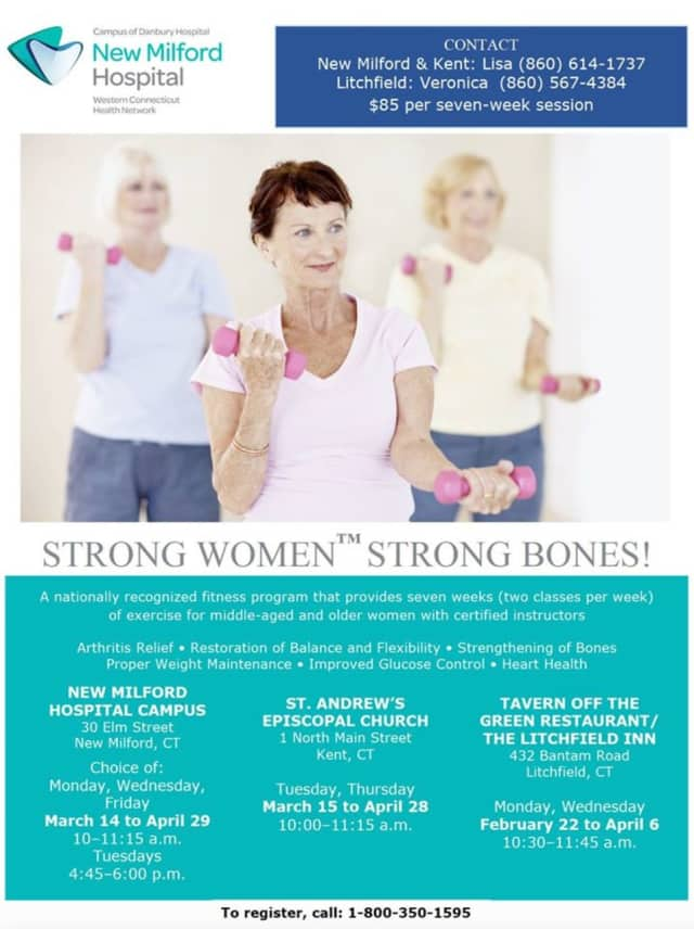 "New Milford Hospital presents the fitness program series, ""Strong Women Strong Bones."""