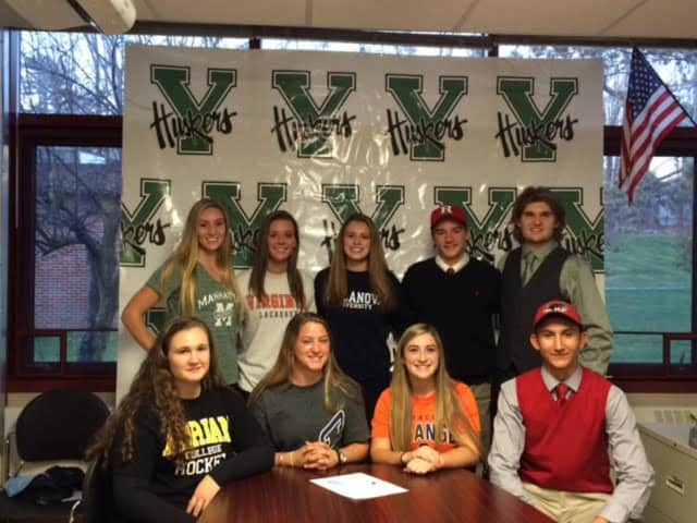 Nine student athletes from five varsity teams signed national Letters of Intent for next year.