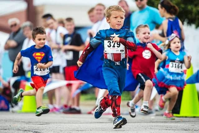 Kids and adults are encouraged to dress up as their favorite super heroes for the races.