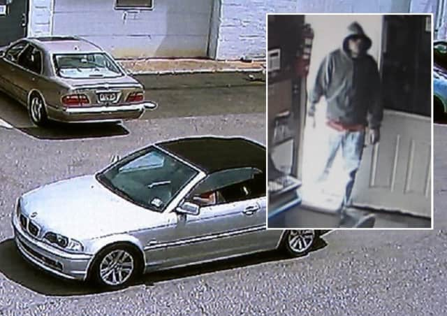The robber (inset) fled in the silver Beamer convertible, police said.