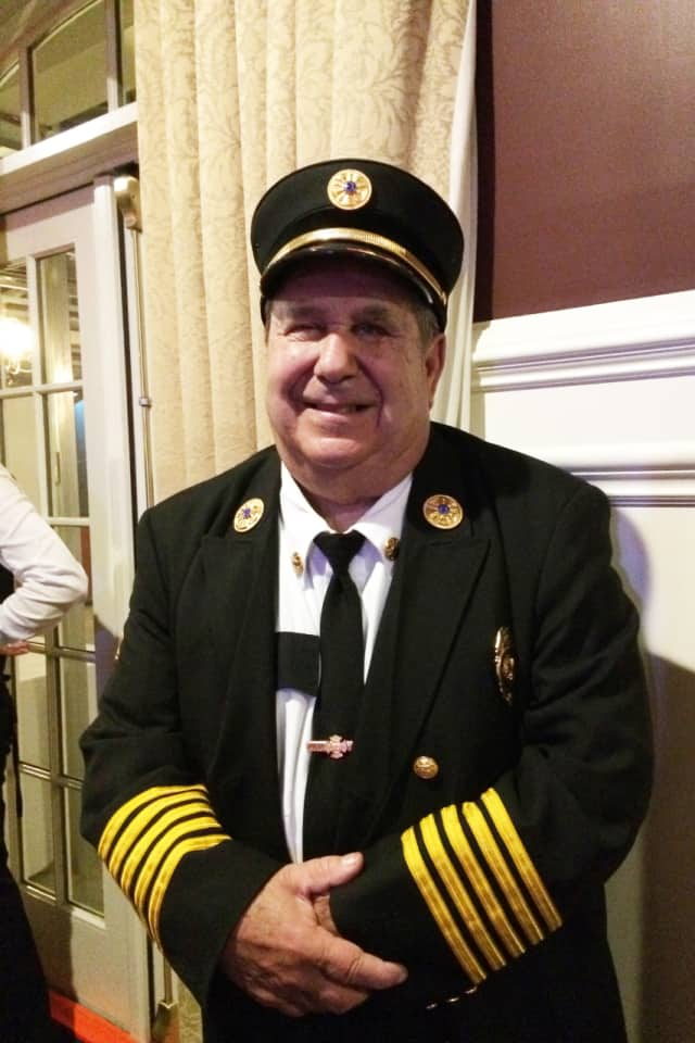 Dave Sweeney Sr., pictured, was among the Croton Falls firefighters honored at the annual inspection dinner.