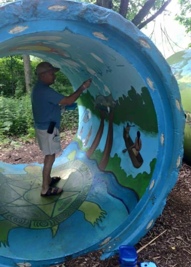On the grounds at Teaneck Creek Conservancy, an eco-art park which features cultural, environmental, and historical events.
