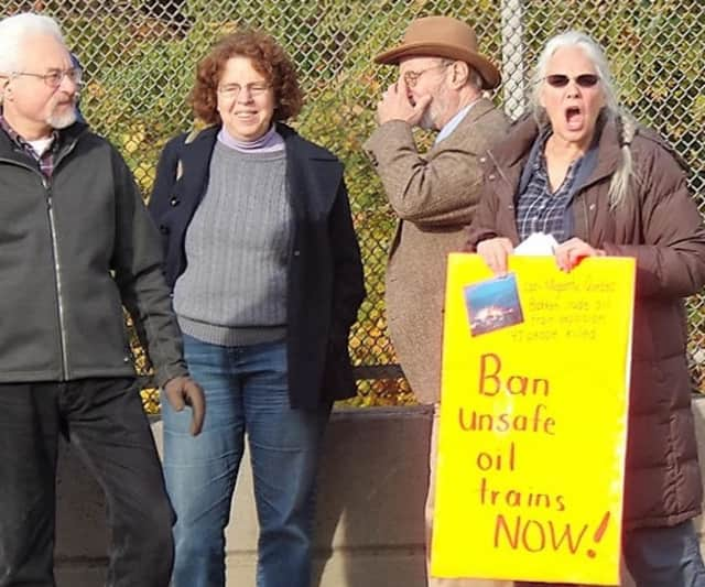 A few members of the Coalition to Ban Unsafe Oil Trains at a rally.