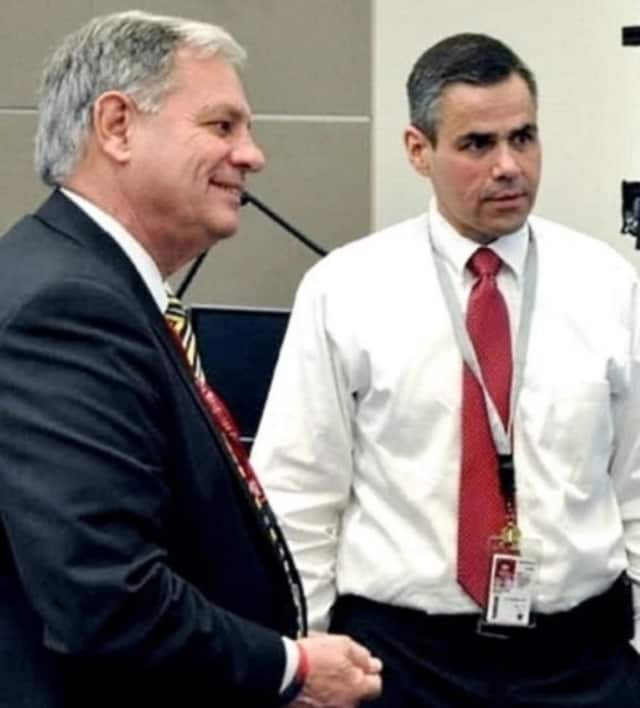 Bergen County Executive Jim Tedesco, left, with Frank DelVecchio, the operations center director.