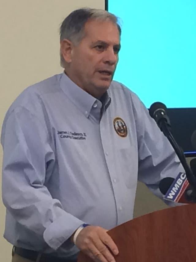 Bergen County Executive Jim Tedesco speaking at media briefing before OEM meeting in Mahwah.