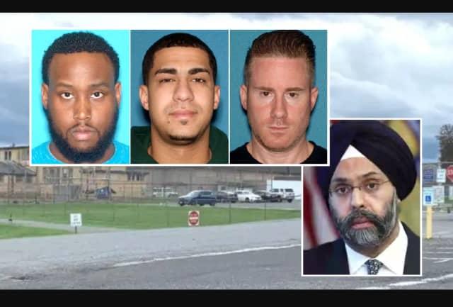 "INSET (left to right): Sgt. Amir Bethea, Officer Lisando ""Luis"" Garcia, Sgt. Anthony Valvano / NJ Attorney General Gurbir S. Grewal"
