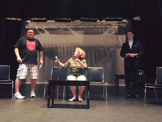 Geoffrey Waumans, Cynthia Smith Barry, and Mark Mason during rehearsal.