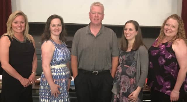 New Milford Public School Teachers of the Year are shown, from left, Joanna Westbrook, Caitlin Knappenberger, Walt Pevny, Jenna Robalino, and Dana Harvey.