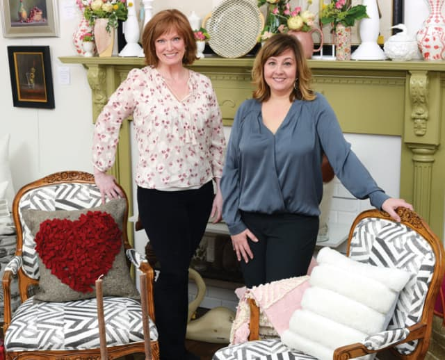 Suzanne Grant and Jen Gerken, from left, are the owners of PORCH Home + Gifts, a stylish new destination in Mount Kisco. Photograph by Bob Rozycki.