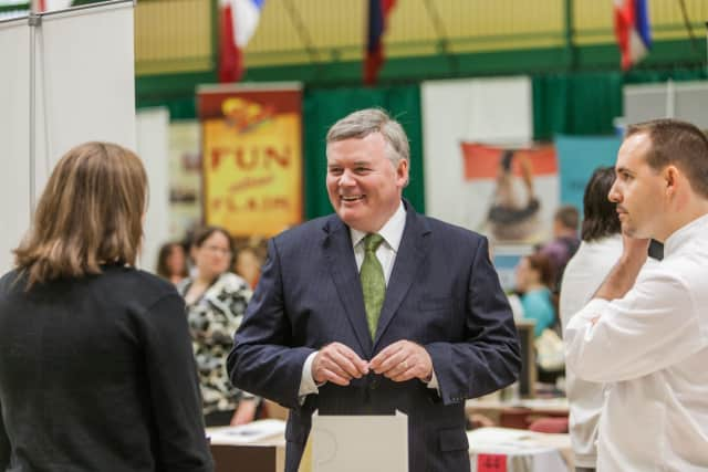 Dr. Tim Ryan at a career fair at The Culinary Institute of America, where food and hospitality companies from around the world actively recruit students.