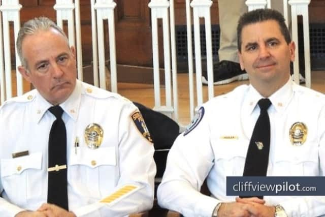 Saddle Brook Mayor Robert White, at left, and Police Chief Robert Kugler, coordinator of the 300th anniversary committee.