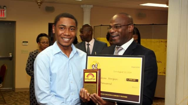 This student was a recipient of a scholarship from the Golden Krust Foundation.