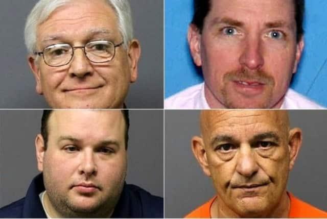 Lawrence Jaskot, 66, of Lodi (top left); William E. Gahwyler, 53, of Wyckoff (top right); Jonathan Greenman, 37, of Fair Lawn (bottom left); Leonard H. Adoff, 59, of Keyport (bottom right)
