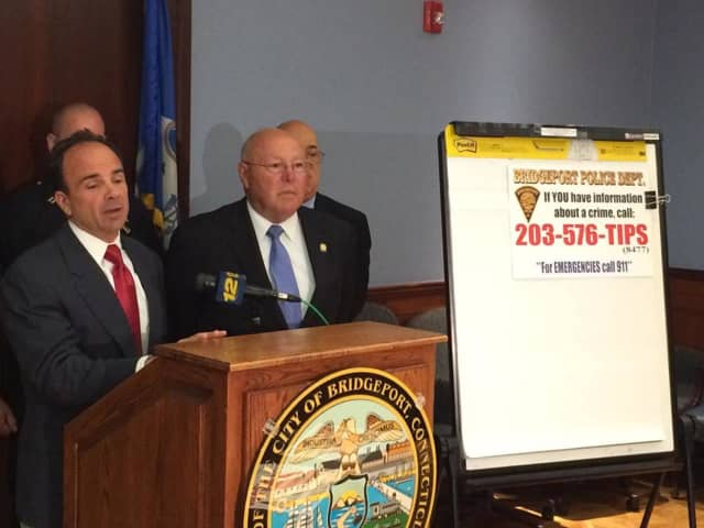 Bridgeport Mayor Joe Ganim and Police Chief AJ Perez announce a new anonymous tip line for citizens to report crimes.