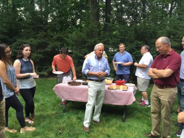 Former U.S. Sen. Bob Torricelli in Parsippany with Young Democrats rallying support for Hillary Clinton.