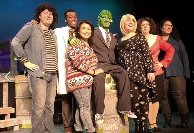 The cast of The Toxic Avenger gets ready for shows on Friday and Saturday at Irvington Town Hall Theater.