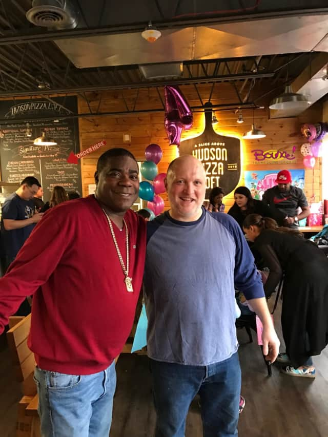 Tracy Morgan made an appearance at Bounce! Trampoline Sports in Valley Cottage last weekend. Morgan went upstairs to Hudson Pizza Loft to grab a slice of pizza and take a photo with owner Ben Javurek.