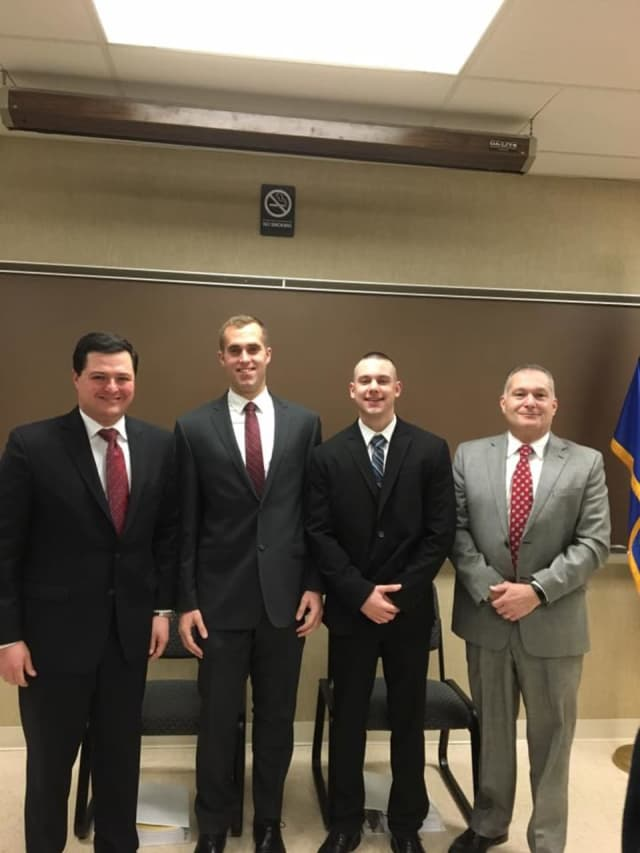 New officers Chad Stephen and Christopher Rampino were sworn in Thursday morning at the Trumbull Police Department.