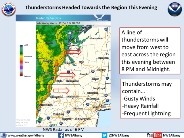 A look at the line of thunderstorms moving toward the Hudson Valley.