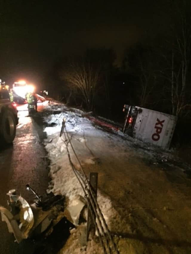 The crash involving the two tractor-trailers occurred between the Taconic State Parkway (Exit 16) and Lime Kiln Road (Exit 15) in Dutchess.