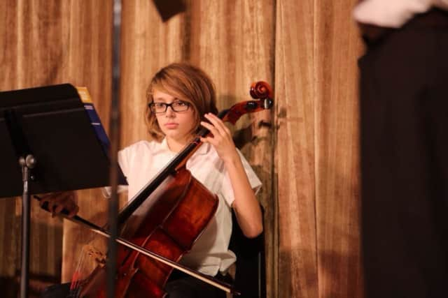 A Tuckahoe Middle School student performs at the winter concert.