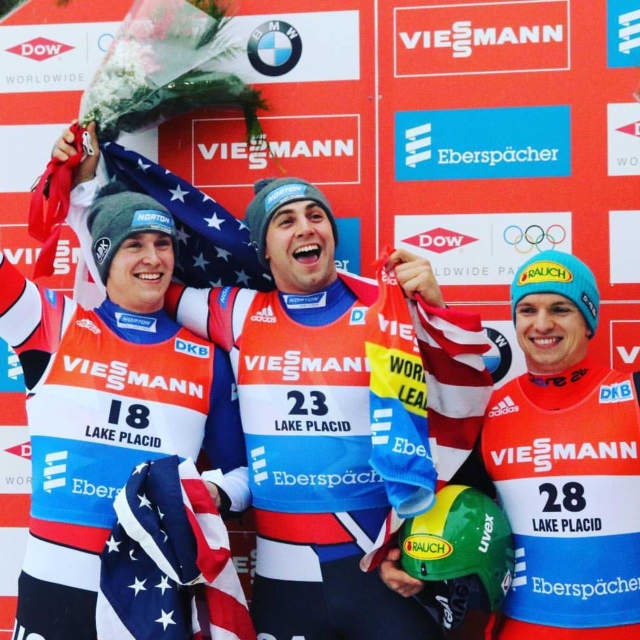 Tucker West, left, wins silver and his teammate Chris Mazdzer, center, wins gold at an event last season in Lake Placid.
