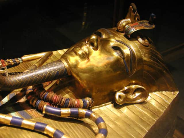 "Tut's innermost coffin. A film series in Wyckoff features a film on Egypt, ""Quest for Immortality."""