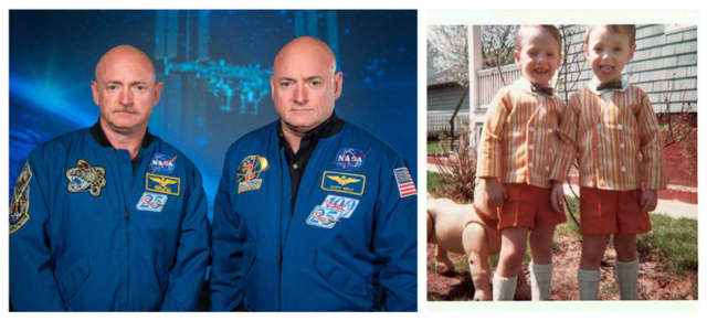 Mark Kelly (with mustache) and Scott Kelly. On the right, the two are seen in 1967; Scott Kelly stands on the right in the older photo.