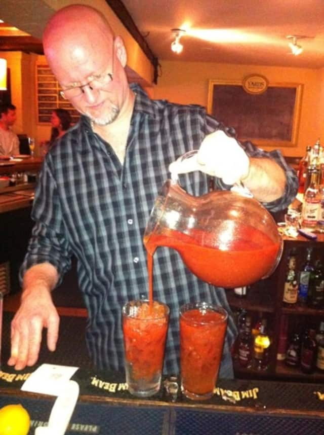 The Bloody Marys get poured for brunch at The Twisted Elm Tavern in Elmwood Park, N.J.