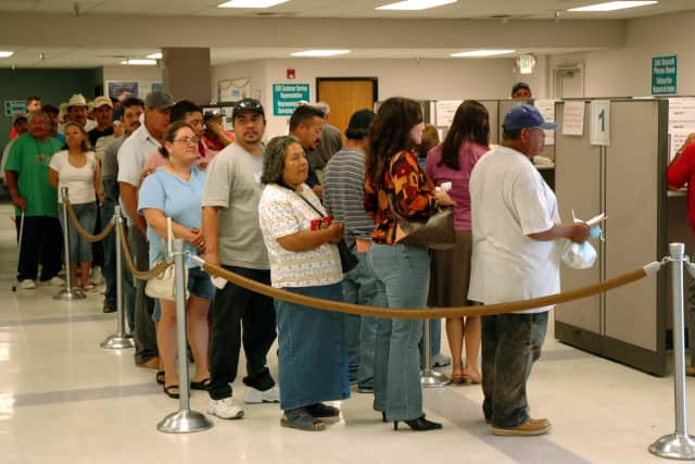While the national unemployment rate is estimated at 4.8 percent, Rockland County's is 4.3 percent, the lowest in the Hudson Valley region and among the lowest in the entire state. The photo shows folks waiting to collect jobless benefits elsewhere.