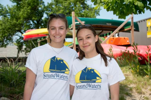 Scarsdale High School senior interns Scottie Berridge and Sarah Saxena taking a break between teaching classes at SoundWaters at Cove Island Park in Stamford.
