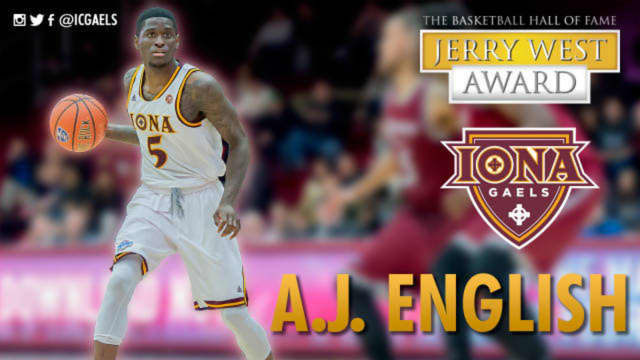 Iona College shooting guard A.J. English is up for the Jerry West Shooting Guard of the Year award in New Rochelle.