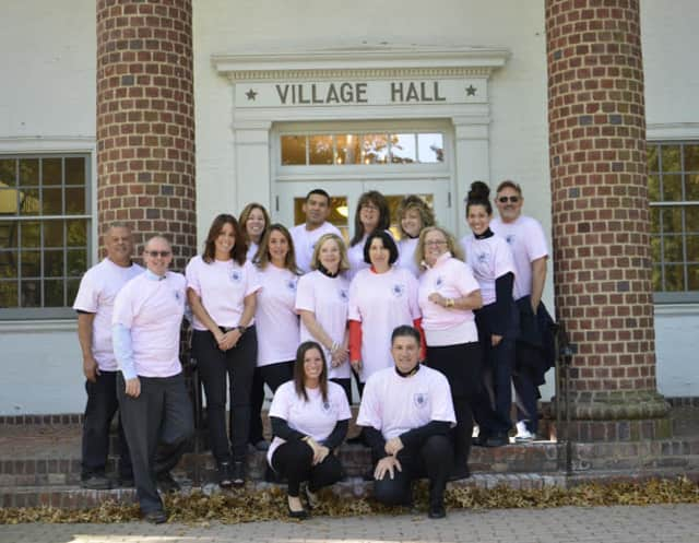 Bronxville officials wearing pink in honor of Breast Cancer Awareness Month.