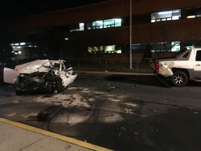 Four were injured when an NYPD pursuit ended with a collision in Mount Vernon.