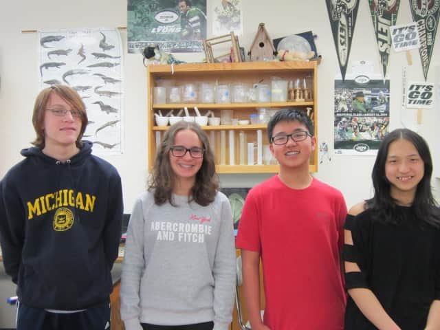 "The four Scarsdale Middle School eighth-graders who qualified for the ""You Be The Chemist Challenge."" From left, Adam Dickstein, Luna Graziottin, Curtis Chang and Amy Hu."