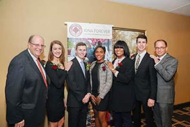 A recent dinner in honor of Ronald M. DeFeo raised more than $1 million for the college. Pictured, DeFeo, Madison Kirch, Kalen Sullivan, Merridith Delinois, Marci Dillion, Patrick Lynch, and Iona President Joseph E. Nyre.