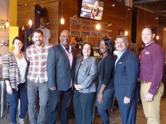 (L-R) Jackie Rubbo, Yonkers Brewery; Nick Califano, Yonkers Brewery; Raul Collado, Clason Point Partners Inc.; Beth Goldberg, SBA; Jennifer Jackson, SBA; Albert Cruz, Clason Point Partners Inc.; and John Rubbo, Yonkers Brewery.