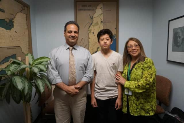 From left: Principal Anthony Bongo, student Darean Guzman and Counselor Martha Rodriguez