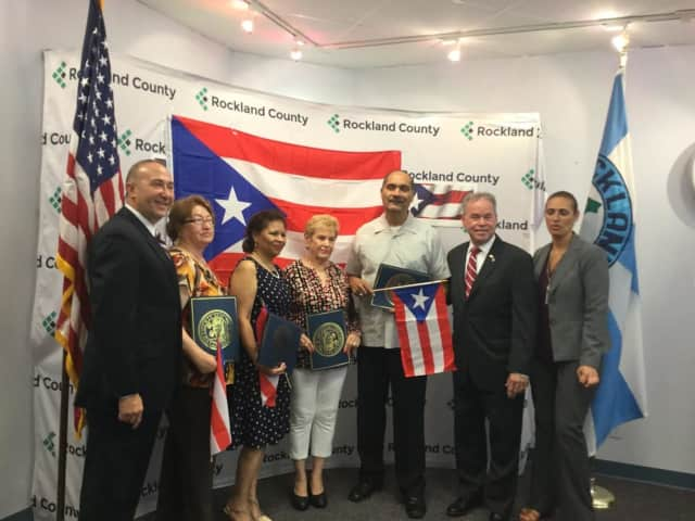 Pictured left to right: Deputy County Executive Guillermo Rosa, Esther Vargas, Elizabeth Martinez, Virgin Torres, Hector Soto, County Executive Ed Day, Rockland Director of Tourism and Economic Growth Lucy Redzeposki