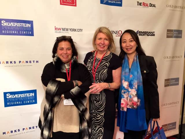 William Pitt Sotheby's International Realty New Canaan agents Leslie Razook and Inger Stringfellow with client Linda Xu.