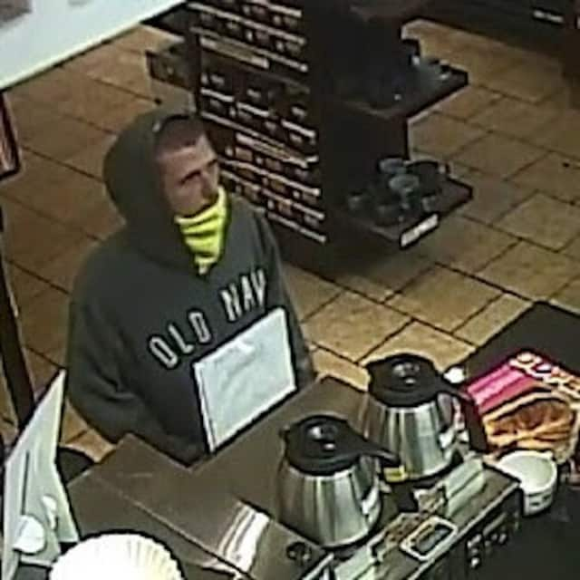 Police have released this photo of the suspect in the armed robbery of the Dunkin' Donuts in Yonkers on Feb. 9.